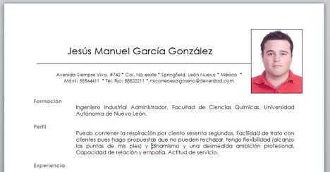 CV prácticas profesionales 2B