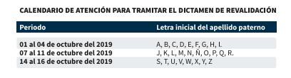 Calendario tramite revalidación BUAP